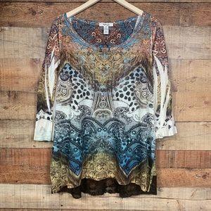 Style & Co 2X Embellished Blouse w/3/4 sleeves EUC